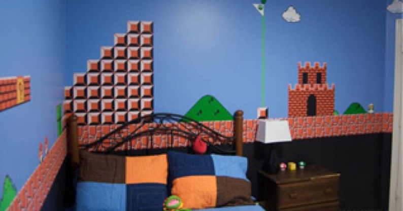 Fan Made: Dad Paints Super Mario Bros. Level In Son\'s Room ...